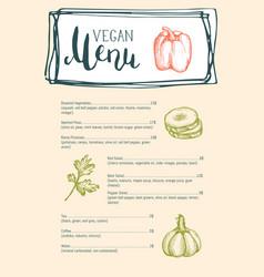 vegan cafe menu typographic layout vector image vector image
