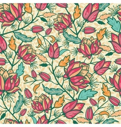 Colorful flowers and leaves seamless pattern vector image