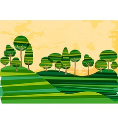 Green banded tree meadow vector image vector image