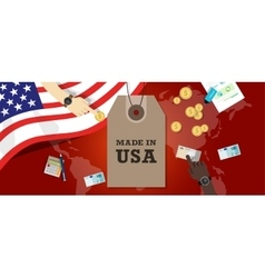 Made in USA emblem written on a label tag with vector image vector image
