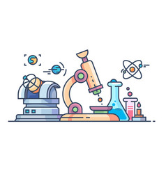 science and research line flat vector image vector image