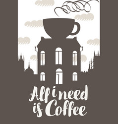 sign coffee house with cup on roof vector image
