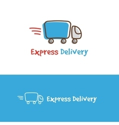 Cartoon truck logotype express delivery vector