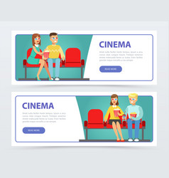 happy people with popcorn watching a movie cinema vector image
