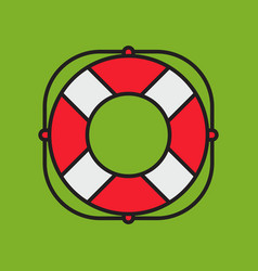 lifesaver on green background simple flat style vector image