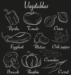 Vintage vegetables Hand-drawn chalk blackboard vector image