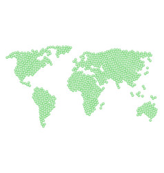 Worldwide map mosaic of glad smiley items vector