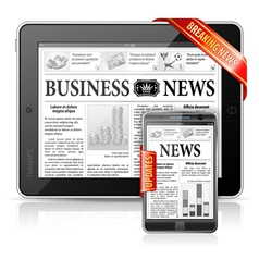 Breaking News Concept - Tablet PC Smartphone vector image vector image