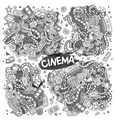 Cinema movie film doodles sketchy designs vector