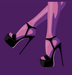 fashion of slim female legs in black vector image
