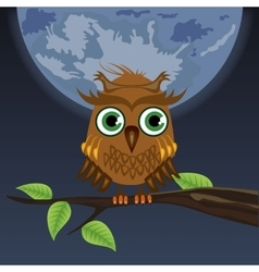 owl sitting on a tree in the moon vector image vector image