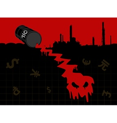 Red crude oil price fall down vector image