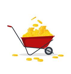 red wheelbarrow full of golden coins gold money vector image vector image