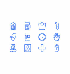 12 blue general practitioner medical icons vector