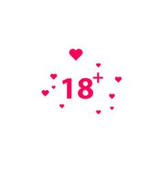 18 age warning stamp with hearts vector image