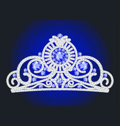 a crown diadem female with precious stones on a vector image