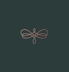 Abstract butterfly flower linear weave logo symbol vector