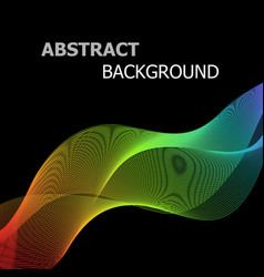 abstract colorful lines wave on black background vector image