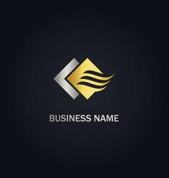 Air flow sign wave gold logo vector