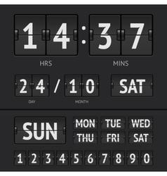 Analog black scoreboard digital week timer vector image