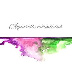 Aquarelle mountains green violet vector