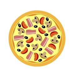 Assorted pizza with mushrooms tomatoes vector image