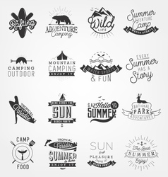 Beach and Camping Elements Badges and Labels vector