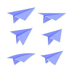 blue paper plane set vector image