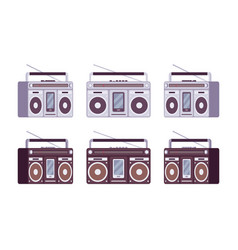 Boombox set in grey and black color vector