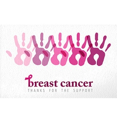 Breast cancer awareness handprint vector image