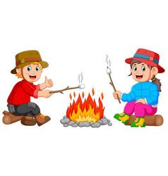 Burning marshmallow in camp vector