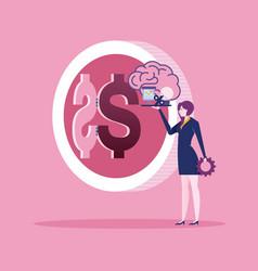 businesswoman create idea for make money vector image