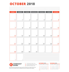 calendar template for 2018 year october business vector image