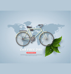 car free day holiday banner or poster paper cut vector image