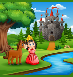 Cartoon of a cute princess girl with horse in the vector