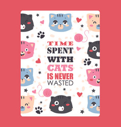 cats funny poster cute vector image