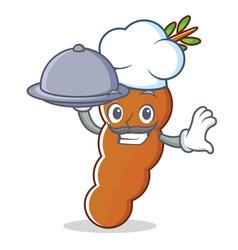 Chef with food tamarind mascot cartoon style vector