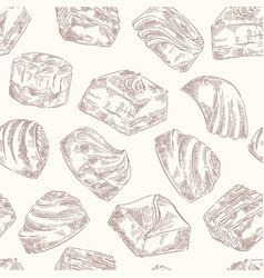 chocolate sweets pattern sketch vector image