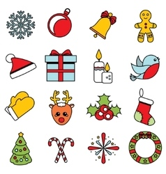 Christmas and new year icons set of winter vector image