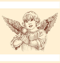 Christmas angel holding light in vintage style vector