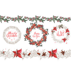 christmas set with festive elements calligraph vector image