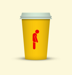 coffee cup with sleepy man silhouette on it vector image