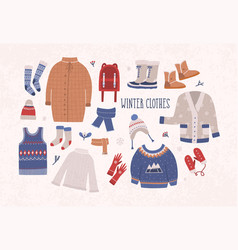 Collection of winter clothes and outerwear vector