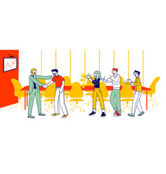 Company success worker encouraging boss vector