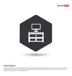 computer table icon hexa white background icon vector image