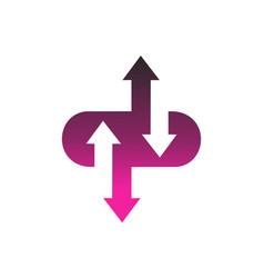 computing data arrow logo icon concept vector image