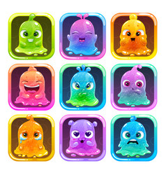 cute cartoon colorful slimy characters in the vector image