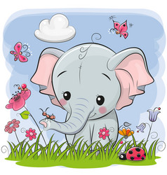 cute cartoon elephant on a meadow vector image