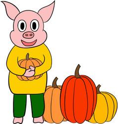cute little pig cartoon character vector image