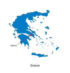 Detailed map of Greece and capital city Athens vector